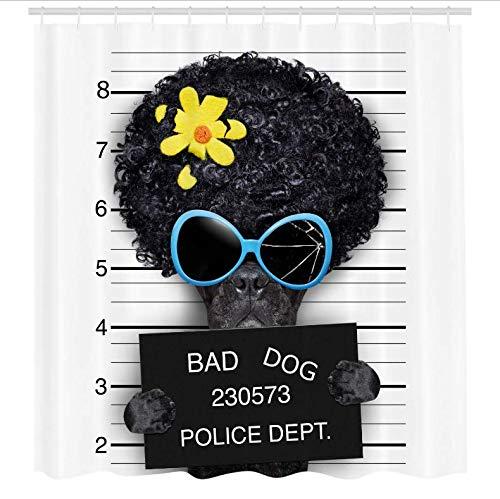 Fahndungsfoto von Hippie wollte Hund Verbrecher Welpe Afro Boxer Gangster Gefängnis Humor Thema Badezimmer Dekor Set mit 12 Haken 71X71 Inch ()