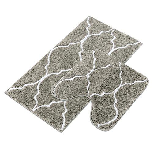 Homcomoda Rutschfeste Badematte Mikrofaser Badteppiche Absorbent Badvorleger für Badezimmer Öko-Tex 100 zertifiziert Duschvorleger Küchenbodenmatten-2Pack(Grau)