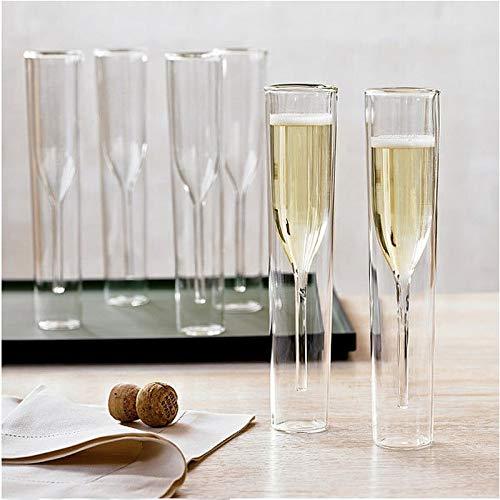 Verres à double paroi flûtes à champagne Goblet Bulle Vin Tulipe Cocktail Mariage Fête Verre Tasse Toasting Thule