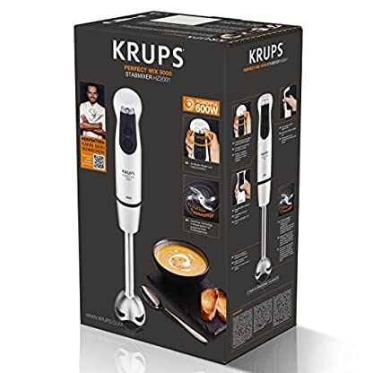 Krups-HZ2001-Stabmixer-Perfect-Mix-5000-inkl-Mixbecher-4-Messer-Technologie-16-Geschwindigkeitsstufen-Turbostufe-600-W-weischwarzedelstahl-gebrstet