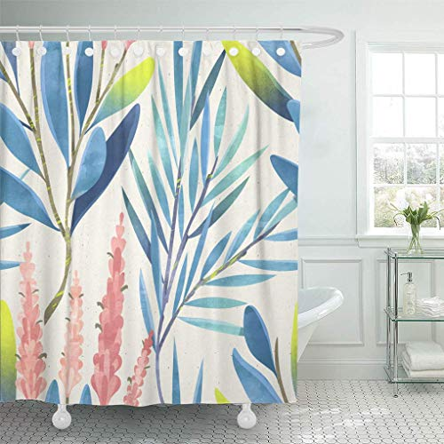 HOJJP Shower Curtain Pink Beige Branches Floral Pattern Colorful Botanical Blue Classic Shower Curtains Sets with Hooks 72 x 72 Inches Waterproof Polyester Fabric