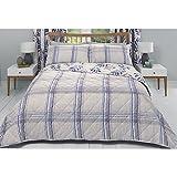 Dreams & Drapes 'Kew' Umkehrbar Check/Floral Bettbezug-Set, Polyester-, Einzelbetten, fliederfarben