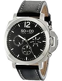 SO & CO New York 5022.1 - Reloj para hombres, correa de cuero color negro