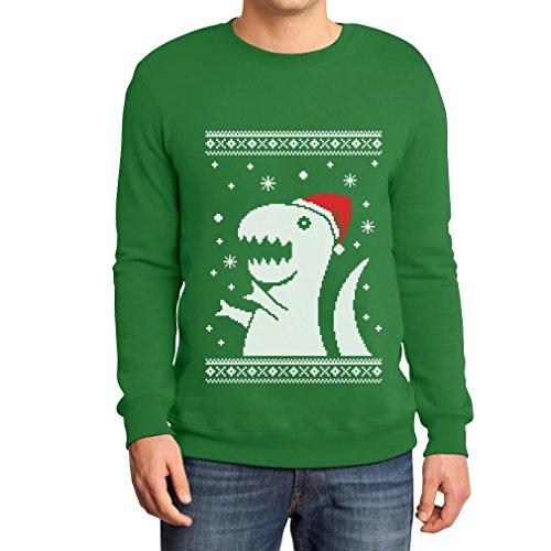 T-Rex Dinosaurier Nikolaus Mütze Witzig Weihnachten Sweatshirt Grün