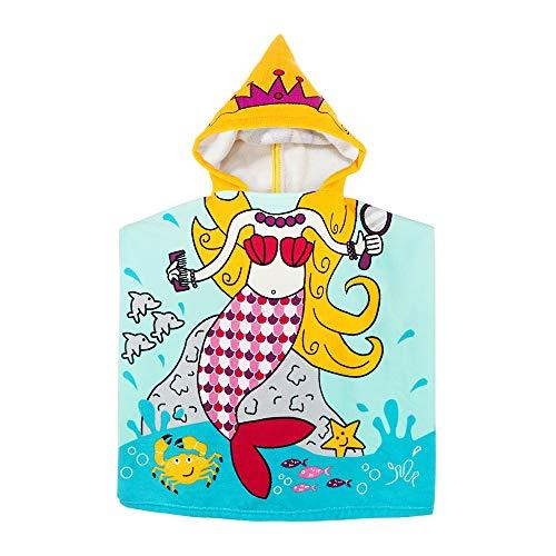 Asciugamano da Spiaggia per Bambini con Cappuccio per Neonate Piumino da Bambino per Bambini Sotto età 6, 60 x 61 cm Asciugamani Morbidi con Cappuccio in Microfibra per Piscina (Rosa)