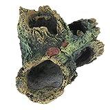 TUUPORD Ornament für das Aquarium Resin, Hollow Log with Moss, Betta Log Tree Fish Tank Holz Cave...
