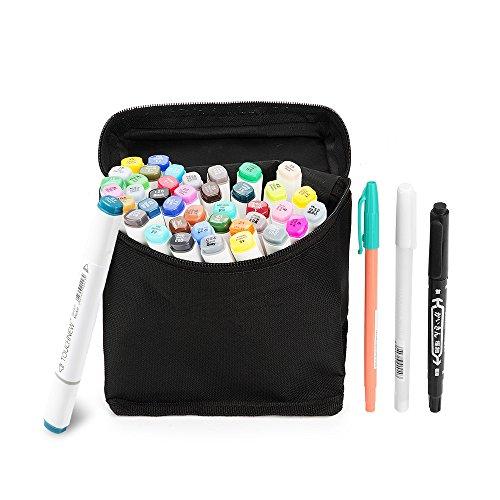 W Marker Pen Set Zeichnung Malerei Kunst Dual Tip Sketch Pen Kunst Sketch Twin Tip Design mit Tragetasche (Comic Auswahl) (40 Set, Weiß) -Lightwish (Halloween Handwerk Für 1 Jahr Alt)
