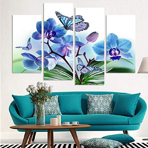 SKShenkai Pintado Mano Flores orquídeas Mariposas