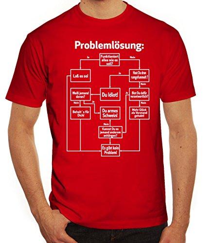 Nerd Herren T-Shirt mit Problemlösung Motiv von ShirtStreet Rot