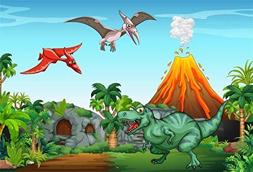 EdCott 9x6ft Cartoon Dinosaurier Jurassic Welt Hintergrund Alten Wald Stein Tier Hausfliegen Monster Volcano Dino Thema Geburtstagsfeier Veranstaltungen Fotografie Hintergrund Video Foto Studio