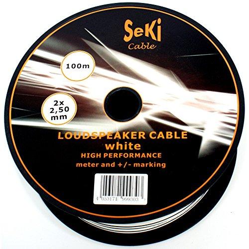 Lautsprecherkabel 2x2,50mm2 - 100m - weiss - CCA - Audiokabel - Boxenkabel
