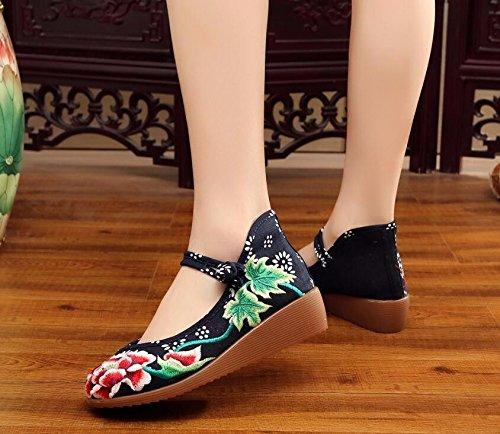 KAFEI Aumentata femmina scarpe ricamato manualmente tendine di carni bovine pendenza di fondo con una maggiore tomaia in mesh Black