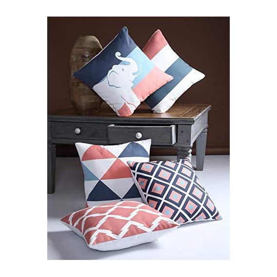 Alina Decor Polyster Printed Decorative Square Cushion Cover/Pillow Covers (Multicolor, 16X16 inches) Set of 5