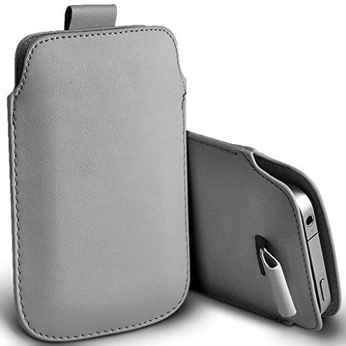 I-Sonite (Grau) Premium Slip-in Pull-Tab Ärmel Kunstleder Tasche Hülle für BLU Vivo One Plus (2019) [XXXL]