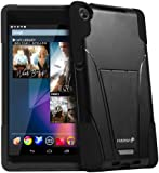 Fosmon Google Nexus 7 II FHD 2nd Gen 2013 (HYBO-V) Detachable Dual Layer Hybrid TPU + PC Protective Case Cover with Stand Function - Fosmon Retail Packaging (Black)