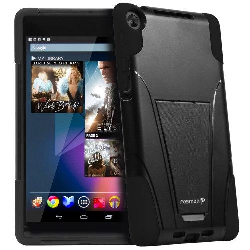 Google Nexus 7 II FHD 2 Hülle Tasche, Fosmon Hybo-V Hybrid-Schutzhülle Etui Case Cover mit Ständer für Google Nexus 7 II FHD 2 Generation 2013 - Schwarz (Nexus 7 Google Tablet)