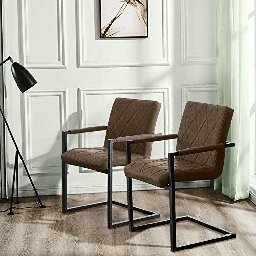 SHINAWOOD Schwingstuhl 2er Set Esszimmerstühle mit Armlehne Kunstleder Stühle mit Metallbeine Freischwinger Schwingstuhl Braun 2er Set
