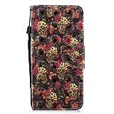 BONROY Lederh�lle Wallet Case f�r Huawei Honor 7C/Enjoy 8 Flipcase 3D Effekt PULeder H�lle Brieftasche Book Tasche Handyh�lle Schutzh�lle Handytasche Handyschale-(HX-Blume) Bild