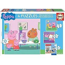 Peppa Pig-Puzzle Progressif, 12, 16, 20, 25pièces (Educa Borrás 16817.0)