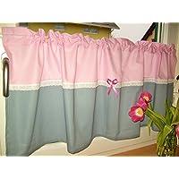 Gardine rosa/grauhandmade
