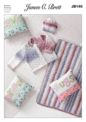 James C Brett DK - JB140 Baby Cardigan, Blanket & Hat Patterns 31-51 cm (12-20 ins)