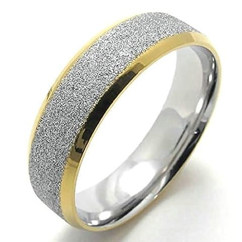 AMDXD Bijoux Acier Inoxydable Bague de Mariage pour Hommes Argent Or Rond Forme 6MM,Taille 56.5