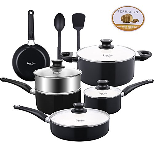 Lovepan Beets Pots and Pans Set, White Ceramic Coating Nonstick Aluminum Cookware Set With glass lids and Nylon Utensils, Sauce Pan with Steamer Dishwasher Safe PTFE, PFOA Free, 12-PCS Black