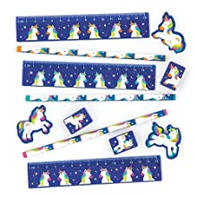 Baker Ross Rainbow Unicorn Stationery Sets, Perfect for Kids School Set, Ideal for Homework or School Classwork (Pack of 4)