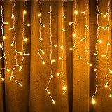 Luci a energia solare, 8 modalità, luci natalizie per camera da letto, patio, giardino, festa di nozze, decorazione da parete per interni (11 m 264 LED, bianco caldo)