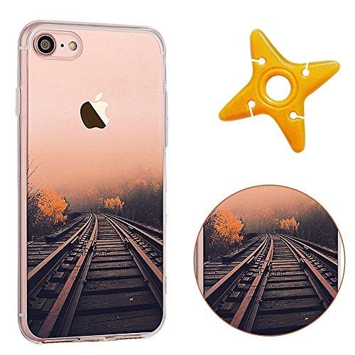 iPhone 7 Cover, MAOOY Bellissimo Paesaggio Modello Design Case per iPhone 7, Flessibile Ultra Sottile Leggero Bumper Copertura di Soft Gomma Sveglio Cristallo Gel Antiurto Protettiva per 4.7 Apple iP Ferrovia