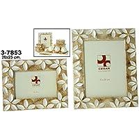DRW - Portafotos de nácar para Foto de 20cm x 25cm con Flores en Color Blanco