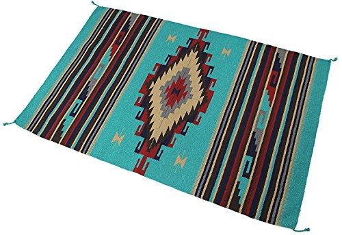 Splendid Exchange Hand Woven Acryl Southwest Bereich Teppich, 4Füße von 6Füße, Acrylbeschichtete Baumwolle, Diamond Vine Light Blue, 4 x 6 - Light Blue Runner