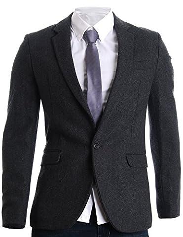 FLATSEVEN Mens Slim Casual Winter Wool Blends Blazer Jacket (BJ106)