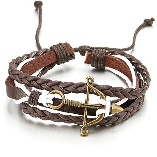 Pfeil und Bogen Braun Geflochtene Leder Weiß Baumwolle Armband, Multi-strang Herren Damen Wickeln um Strap Schweissband
