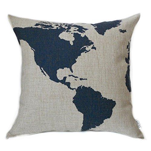 Elviros Dekorativ Baumwoll Leinen Mix Kissenbezug 45 x 45cm-Karte von Amerika
