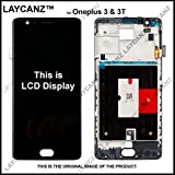 LAYCANZ LCD Touch Screen Digitizer Glass Frame for Oneplus 3 and 3T (Black)