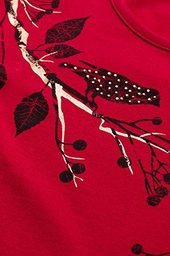 Ulla Popken Damen große Größen Shirt mit Vogel-Motiv   Strass   Rundhalsausschnitt   Langarm   Typ: Classic   bis Größe 58+ 707219 Burgund