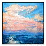 Wandkunst-Lakehouse Decor Collection, Ölgemälde Ansicht Meer nach moosigen Rock Path unter bunten Himmel mit Wolken im Sonnenuntergang Bild, Badezimmer Duschvorhang, grün Creme blau,39*39inch