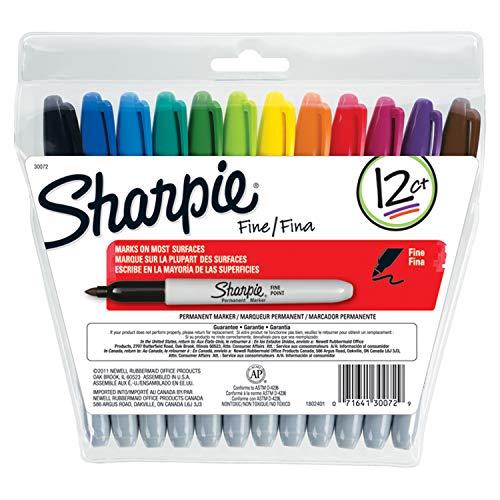 Sharpie Permanent-Marker, feine Spitze, Schwarz, 12Stück, plastik, sortiert, 12
