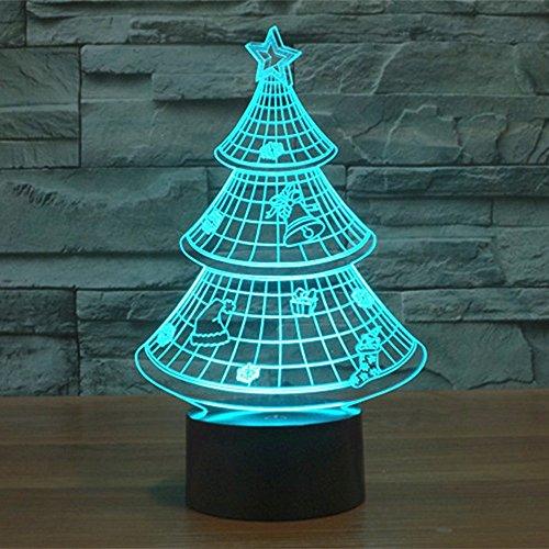 Lampe 3D ILLUSION Lichter der Nacht, kingcoo 7Farben LED Acryl Licht 3D Creative Berührungsschalter Stereo Visual Atmosphäre Schreibtischlampe Tisch-, Geschenk für Weihnachten, Kunststoff, Arbre de Noël 0.50 wattsW - 2