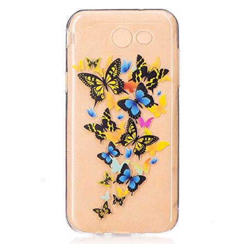 Pour Samsung Galaxy J3 Prime Case Cover, Ecoway TPU Clear Soft Silicone motifs peints Housse en silicone Housse de protection Housse pour téléphone portable pour Samsung Galaxy J3 Prime - papillon