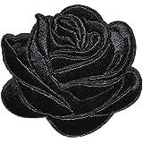 rose noir ecusson fleur porte bonheur patche insigne 7,5x6,5cm thermocollant brodé