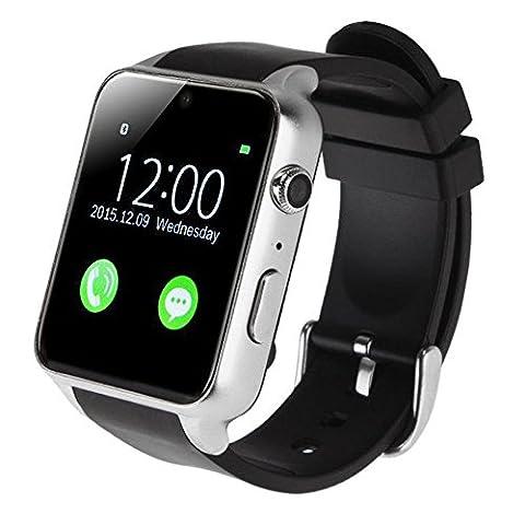 AGPtEK Smartwatch Handy-Uhr mit 2.0M Kamera Bluetooth 4.0 Aktivitättracker Pulsuhr Fitness-Tracker für Android iOS - Unterstützt GSM / GPRS SIM Karte, IP57