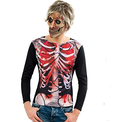Gurimotex Kostüm Zombie Shirt mit Skelett-Print Halloween (X-Large)