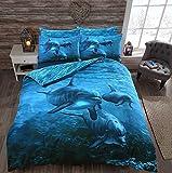 STYLELIVING @ 3D Panel Bedruckte Polyester-Baumwoll-Mischgewebe, Bettwäsche-Set mit Kissenbezügen, Delfin, Einzelbett