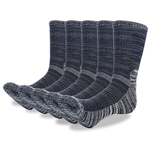Weekend Peninsula 5 paia di calzini sportivi da uomo in cotone, anti vesciche, per allenamento, trekking, camminata, atletica, per uomo e donna Grigio e nero - 5 paia. 38/45 EU