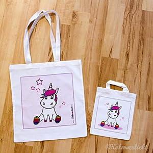 Tragetasche (klein) mit Einhorn - Stoffbeutel - Einkaufstasche - Kindertasche - Kinderbeutel