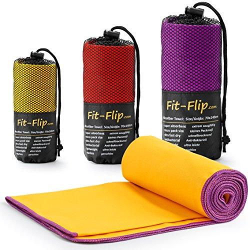 Fit-Flip Gelb mit lila Rand, 1x 200x100cm | reisehandtuch schnelltrocknend 100x200 reisehandtuch schnelltrocknend 200 reisehandtuch Doppelpack