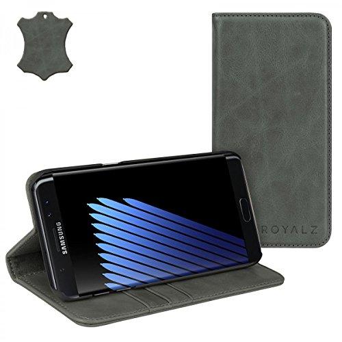 ROYALZ Lederhülle für Samsung Galaxy Note 7 Tasche Leder ( N930 / N930F ) Book Cover Ledertasche Schutzhülle Case Hülle Schutztasche Etui Wallet Handyhülle mit unsichtbarem Magnet Standfunktion Kartenfach Vintage Leder grau