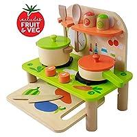 Kids Kitchen Toy Toddler Play Kitchen Playset for Kids - Toy Kitchen Set - Wooden Kitchen Playset with Kitchen Accessories for Pretend Play including Pans, Wooden Toy for Toddlers Role Play Set for Children